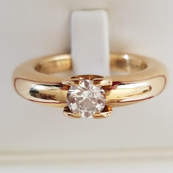 418840185004b CARTIER 18K Gold Diamond Engagement Ring